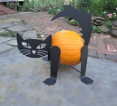 Turn your Halloween Pumpkin into a Cat! This custom designed Pumpkin Cat kit is a great accent to any Halloween Pumpkin. A charming way to add some fun to your Halloween decor. Adjusts to fit all medi