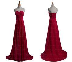 Red bridesmaid dress chiffon bridesmaid dress long by FlyFlower