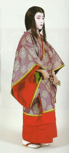 """Court lady of the Heian Period (794-1185) , Japan. Textiles during this period of Japan were often brocade ones heavily influenced by China (and in some cases the cloth itself was directly imported from that country)  . Scan from book """"The History of Women's Costume in Japan.""""  Scanned by Lumikettu of Flickr.  Japanese costume many centuries ago…recreation accomplished in Kyoto during the 1930's"""