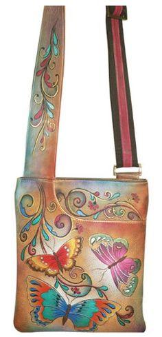 Anuschka Slim Cross Shoulder Bag-Henna Butterfly - Henna Butterfly