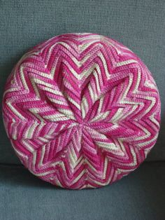 Peppermint Pink & White Crochet Pillow by vintagejunebug on Etsy