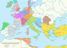 Europe, 476 CE, after the fall of the western Roman Empire.