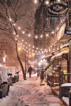 8/21/14 - Snowy Christmas lights at Night/ City Sidewalks in Vivienne Gucwa