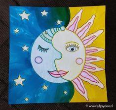 Juf Jaydee: Zon en maan - kleurpotlood en ecoline