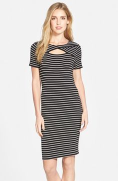 Vince Camuto Keyhole Detail Jersey Sheath Dress (Regular & Petite) available at #Nordstrom