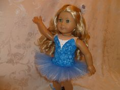18 Inch Doll Blue and White Snowflake Classical Prima Ballerina Costume, Ballet Slippers and Hair Comb to fit American Girl by Just4Dolls on Etsy