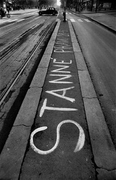 A streetcar stop with the announcement of the 9 p.m to 5 a. curfew ordered under the state of siege, Prague, August 1968 by Josef Koudelka Classic Photographers, Warsaw Pact, Visit Prague, Magnum Photos, French Artists, Vintage Photography, Vintage Images, Announcement, Documentaries