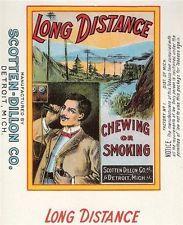 Long Distance Tobacco Label Litho Scotten Dillon Detroit  Mi. Telephone & Train