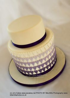 Purple Ombre Hearts Wedding Cake