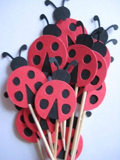 12 Red Ladybugs Party Picks  Cupcake Toppers by ThePrettyPaperShop