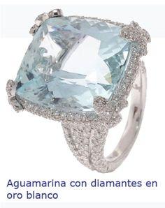 Aguamarina con diamantes en oro blanco