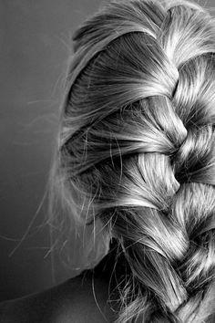 trenza cosida para cabello largo
