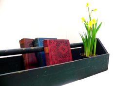 Vintage Wood Tote / Large Dark Green Tool Box / by EitherOrFinds, $42.00
