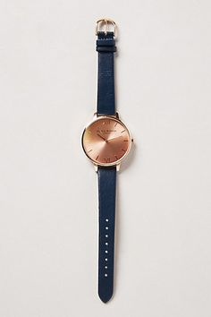 big dial navy rose gold watch