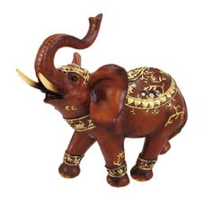 Abstract Wooden Look Elephant Statue Figure Metallic Gold Accents $24.99