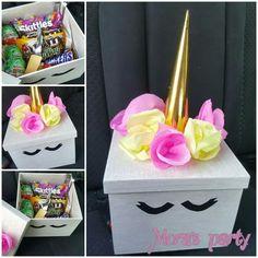 Caja de regalo dulces unicornio Unicorn Valentine, Valentine Day Boxes, Valentine Day Gifts, Homemade Gifts, Diy Gifts, Birthday Basket, Exploding Box Card, Unicorn Crafts, Candy Bouquet