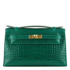 3d510ef64573 Hermes Emerald Shiny Alligator Mini Kelly Pochette with gold hardware in  store fresh condition.shop authentic Hermes bags at Madison Avenue Couture.