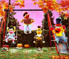 """""""Bring on the sweaters, colorful leaves, and fun fall activities! Elmo And Friends, First Day Of Autumn, Foghorn Leghorn, Bert & Ernie, Fun Fall Activities, Fraggle Rock, Muppet Babies, Cartoon Memes, Cartoon Art"""