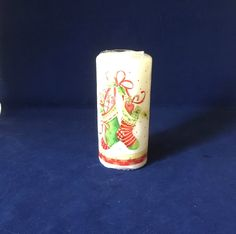 Christmas Stocking Candle, Festive Wax Candle, Christmas Table Decor, White Pillar Candle, Vintage Candle, Xmas Table Centre