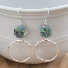 Silver Hoop Earrings with Smoky Turquoise Faceted Glass Accents