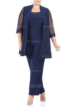 Pant Suits Scoop Ankle-length Chiffon Mother of the Bride Dress. ALEJANDRA  LARA · conjuntos elegantes · Conjunto De Pantalones ... 6201a0968c8c