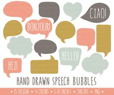 Instand download hand drawn doodle speech bubble clip art set in vintage mustard, mint, coral and anthracite. These charming speech bubbles are