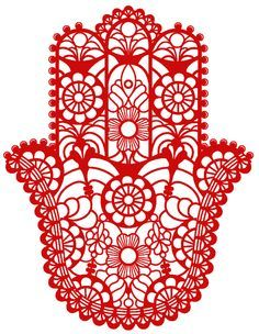 "The word ""Hamsa"" (or khamsa) means five, number which in Muslim and Jewish religion possess a sacred value: five are the revered books of the Torah; the fifth letter of the . Hamsa Design, Hand Der Fatima, Paper Cutting, Hamsa Art, Arte Tribal, Hamsa Tattoo, Steam Punk Jewelry, Jewish Art, Wedding Art"