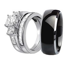 His Hers 4 Pc Black Stainless Steel Anium Wedding Engagement Ring Band Set Lv Window Ping Pinterest