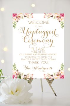 Unplugged Ceremony Sign | 16 x 20 Sign | DIY Printable | Vintage | Antique Gold | Romantic Blooms | PDF and JPG Files | Instant Download by CharmingEndeavours on Etsy https://www.etsy.com/au/listing/276652988/unplugged-ceremony-sign-16-x-20-sign-diy