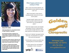 Tri-fold brochure layout of outside for Golden Chiropractic.