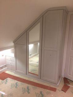A lovely angled wardrobe with mirrored doors. Bedroom Built In Wardrobe, Attic Wardrobe, Bedroom Cupboard Designs, Girl Bedroom Designs, Upstairs Bedroom, Upstairs Bathrooms, Loft Room, Closet Bedroom, Loft Conversion Wardrobes