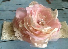 Light Baby Pink Blush & Ivory Vintage by RhysandRaesCreations