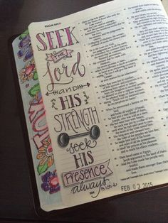 Ϯ ❤ Ϯ                                                        Spiritual Thought                                                ♥Ps 105:4 Bible Journaling by Nola