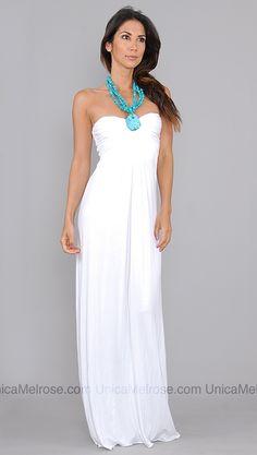 Sky White Hardilla Long Dress with Turquoise Necklace unicamelrose.com