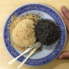 Taiwanese Mochi with crushed peanut and black sesame 花生芝麻麻糬