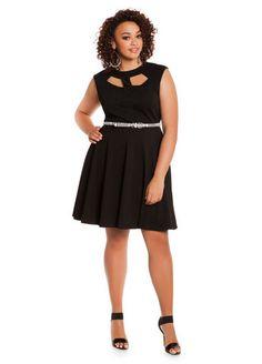 06317170b76 Ashley Stewart Textured Jacquard Peekaboo Skater Trendy Plus Size Fashion