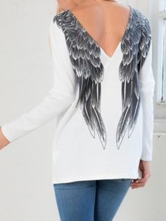 Shop White Angel Wing Print Back Long Sleeve T-shirt from choies.com .Free shipping Worldwide.$15.9