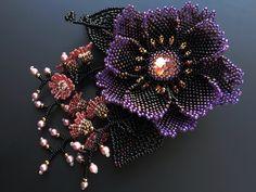 Beadwoven corsage by Sakuiro (or Sakiiro) aka Handmade Beaded Corsage. Herringbone, right angle weave.