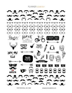 Free Printable Planner Stickers - Black & White Hipster