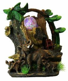 Indoor fountains  - Pin it :-) Follow us, CLICK IMAGE TWICE for Pricing and Info . SEE A LARGER SELECTION of indoor fountains at http://azgiftideas.com/product-category/indoor-fountain/  - gift ideas , home decor   -  Elephants with Tree Trunk Tabletop Water Fountain