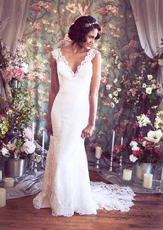 Cap Sleeved V neck Mermaid Lace Wedding Gown by RebeccaSchoneveld