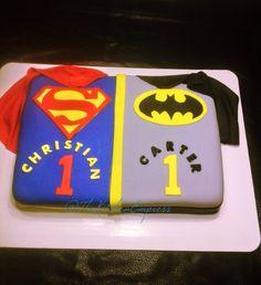 Superman Batman DC Comics cake for twin boys birthday