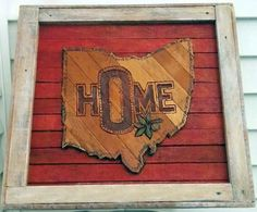 NEideas on Facebook! Original Art by Nate Elkins,Buckeye,Hand Carved Wooden OHIO Home sign, Repurposed Wood Wall Art,Old Wood, Antique Wood, Salvaged Wood, Reclaimed Wood, Vintage license plates, OHIO, Wall Decor, Gift Ideas, Wedding Gift, Wooden Sign, Wood Carving, Old Laths, OHIO state, Nate Elkins