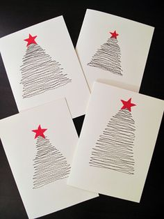 Quickie Holiday Christmas Cards | Flickr - just sew the tree lines, glue on a star. Or could draw this...