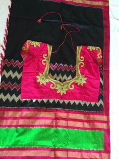 Kalamkari Blouse Designs, Maggam Work Designs, Blouse Back Neck Designs, Designer Blouse Patterns, Green Saree, Pink Saree, Ikkat Silk Sarees, Beautiful Blouses, Indian Designer Wear