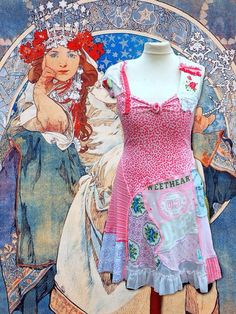 Romantic floral tunic made of beautiful retro recycle fabrics. beautiful nostalgic flowers. worked fine lace and embroidered flowers. Light soft denim