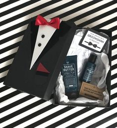 Groomsmen Proposal Tuxedo Gift Boxes make it easy to package your groomsmen party gifts in a classic tuxedo style gift box - perfect for groomsmen, best men, ring bearer Groomsmen Gift Box, Groomsman Gifts, Groomsmen Proposal, Unique Gifts For Groomsmen, Wedding Gift Wrapping, Wedding Gifts, Diy Gift Box, Gift Boxes, Cadeau Surprise