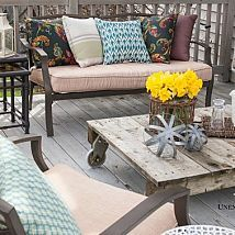 Great deck table - pallet with wheels attached to bottom.