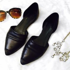 Vince Nina D'Orsay Flats Vince genuine leather black flats. Used but in good condition. They are just a little to big for me. Please ask if you have any questions. Bundle and Save Vince Shoes Flats & Loafers