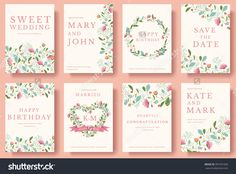 Set Of Flower Invitation Cards. Invite Wedding. Wedding Background. Wedding Illustration. Wedding Invite Flyer. Wedding Invite Poster. Wedding Invite Banner. Wedding Invite Layout Background. - 391031056 : Shutterstock